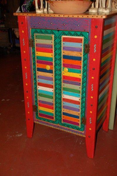 Folk Art Painted Furniture Beautiful Cabinet In Basura