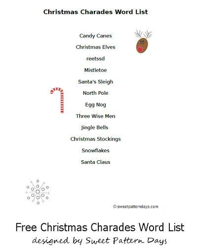 Printable Christmas Charades Word List | Christmas ...