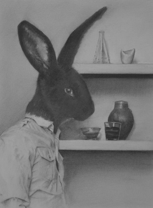 """redlipstickresurrected:  """"Lee Boyd (British-Irish, b. 1971, Middlesbrough, England, based Bangor, County Down, Ireland) - Not Quite The Black Sheep Of The Family from Manimal series Drawings: Pencil  """""""