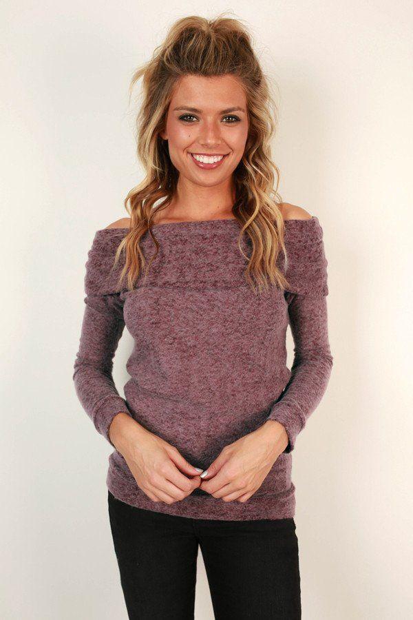 Never Leave My Side Off Shoulder Sweater In Sangria