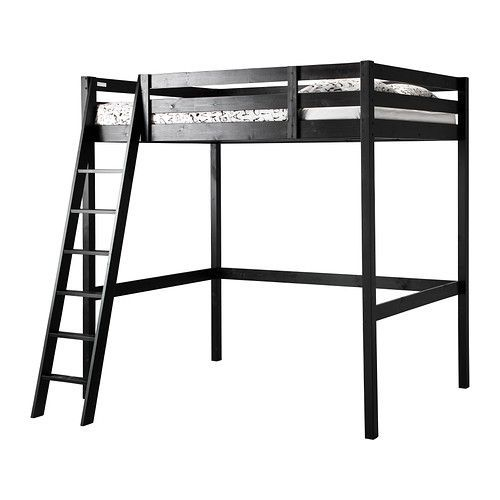 Tax return splurge! IKEA - STORÅ, Loft bed frame, black, , You can use the space under the bed for storage, a work space or seating.The ladder can mount on the left or right side of the bed.Made of solid wood, which is a durable and warm natural material.