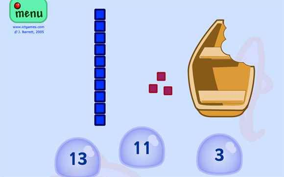 Free online  game ~ Counting base ten blocks.