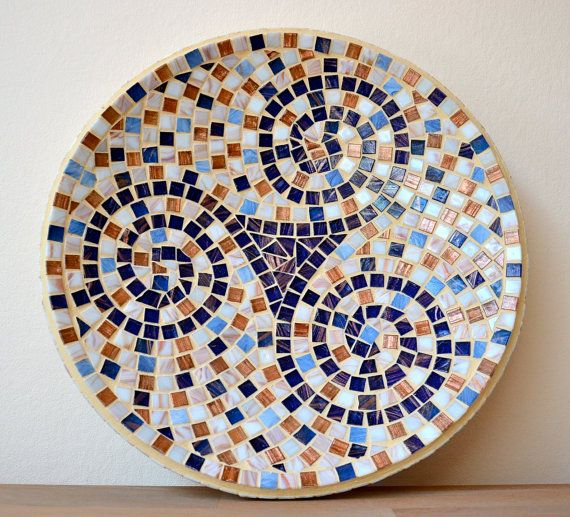 One of Inez's fabulous plates!  Gold link glass mosaic blue and gold dish celtic by mimosaico, $70.00