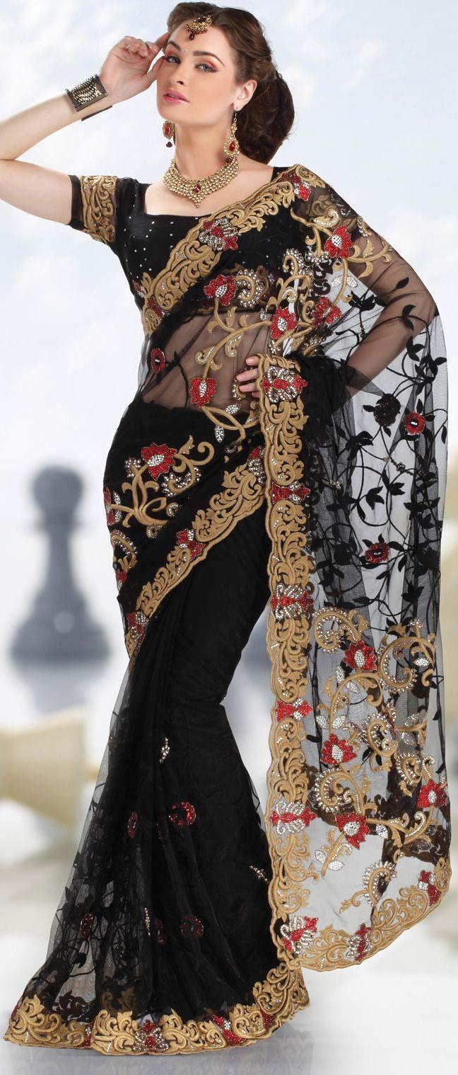 graceful-Black-Net-Saree-Design-