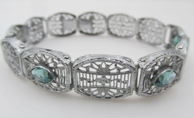 Edwardian / Art Deco Filigree Bracelet with 3 Aqua Paste Jewels