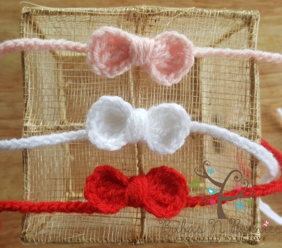 Check out this item in my Etsy shop https://www.etsy.com/au/listing/241389415/5x-crochet-mini-bow-tie-back-headbands
