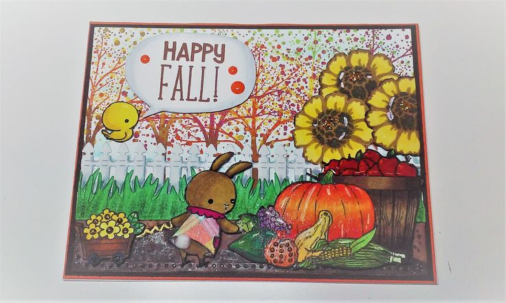 Autumn Card - MFT Somebunny, Flowers -  Hampton Art Flower Amaze, Trees Penny Black Fantasy; Fence- Cottage Cutz - Picket Fence Mini; Grass -  Lawn Fawn - GRASSY BORDER; Pumpkin Basket Clip Art; Sentiment - Lawn Fawn Violet ABC's and Year Two