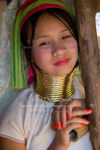 Teenage girl in the Long Neck village of the Karen hill tribe near Chiang Rai, northern Thailand