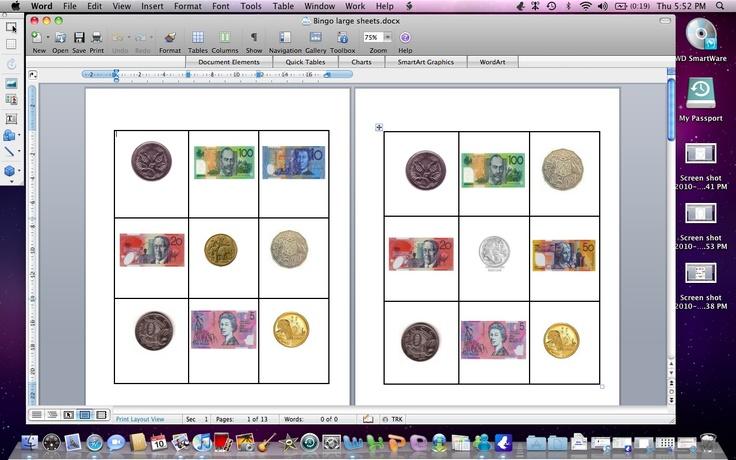 Money Bingo Set.  Australian currency