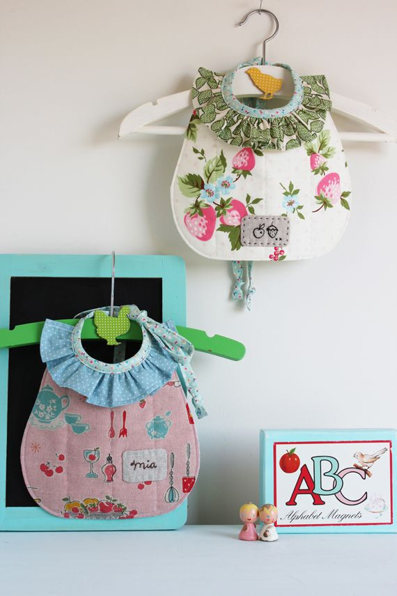 Ruffled bibs!  How adorable!  Nana Company upcoming book.  What a perfect baby girl gift!