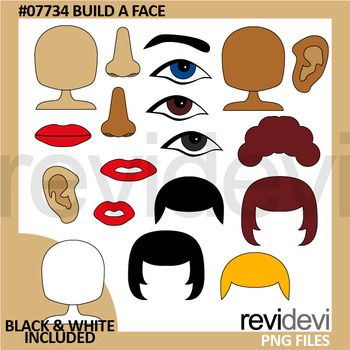 """Build a face clip art set includes digital graphics of eyes, eyebrow, mouth, noses, ears, and hairs. A great collection for learning body parts projects. Black and white version is also included in this pack.Get more face clipart hereLink-text goes here"""">Link-Body Parts clip art - Face clip artGreat resource for any school and classroom projects such as for creating bulletin board, printable, worksheet, classroom decor, craft materials, activities and games, and for more educational and…"""