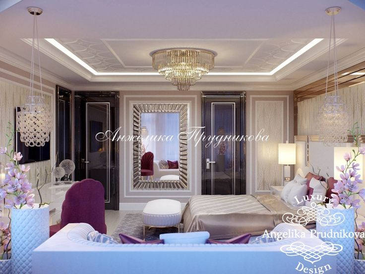 Дизайн проект интерьера спальни в стиле Ар деко в гостевом доме в поселке Гринфилд