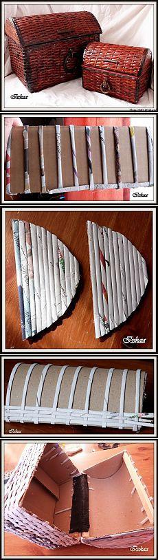 Сундук из плетеных бумажных трубочек