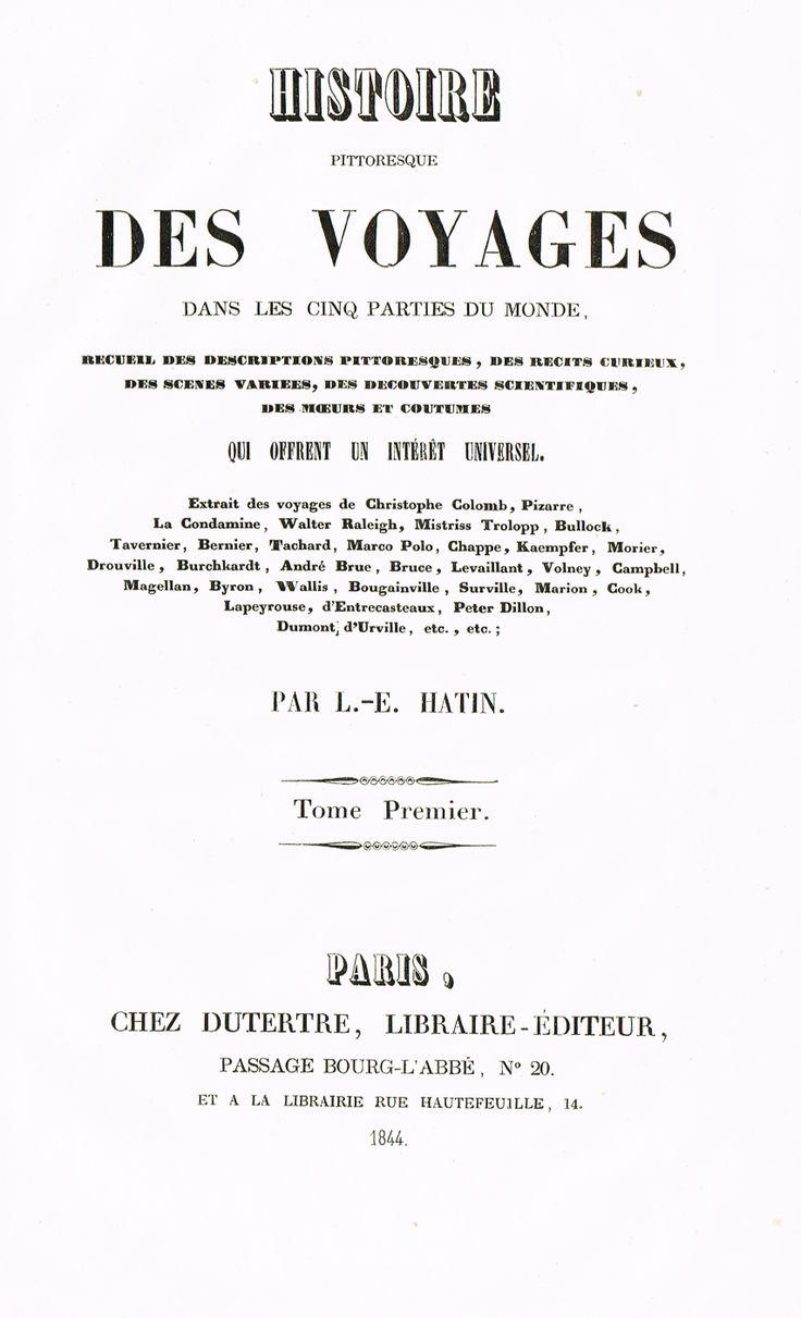 Page de Titre - Amérique Tome I - Histoire pittoresque des voyages par L.-E. Hatin - 1844 - MAS Estampes Anciennes - Antique Prints