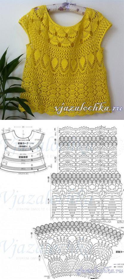 Желтая блузка крючком