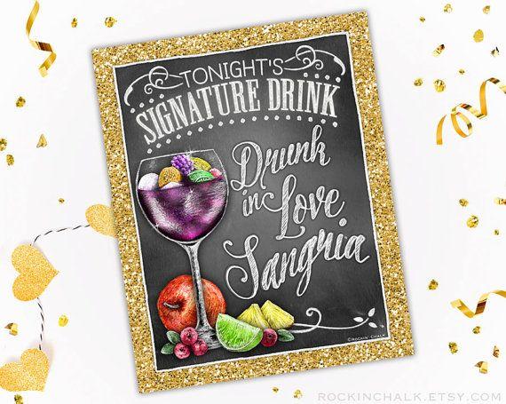Decoración de la boda | Signo de bebida firma | Personalizada boda, compromiso, decoración de la cena del ensayo - borracho de amor SangriaSign