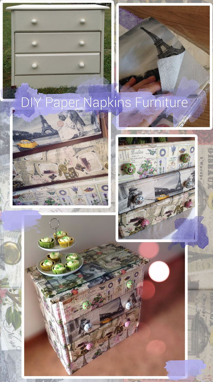 DIY decoupage: upcycle old wooden furniture using paper napkins and Mod Podge Serviettentechnik Kommode