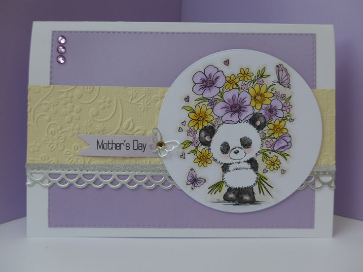 Wild Rose Studio Mother's Day card using Panda with Flowers stamp