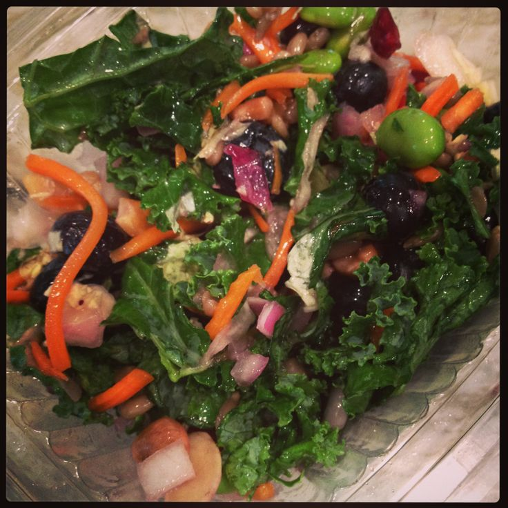 Superfood Salad  --- 1 large bunch of kale (leaves cut from stems and chopped), 1 c. grape tomatoes, 1/2 c. shelled edamame, 1/3 c. Kroger Blueberry Pomegranate salad dressing (any sweet dressing will do) 1/2 c. shredded carrots, 1/4 c. dried cranberries, 1/4 c. cashew pieces, 1/4 c. sunflower seeds, 1/8 c. red onion, 1/4 c. blueberries.