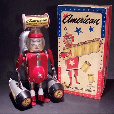American Battery by Rander RegierRandy Regier, American Battery, Toys Time, Coins Machine Novelty Toys, Useless Toys, Fake Vintage, Astronaut Toys, Vintage Toys, Spaces Toys
