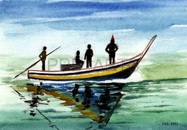 Watercolor Painting Fishing Boat On Sea Watercolorarts