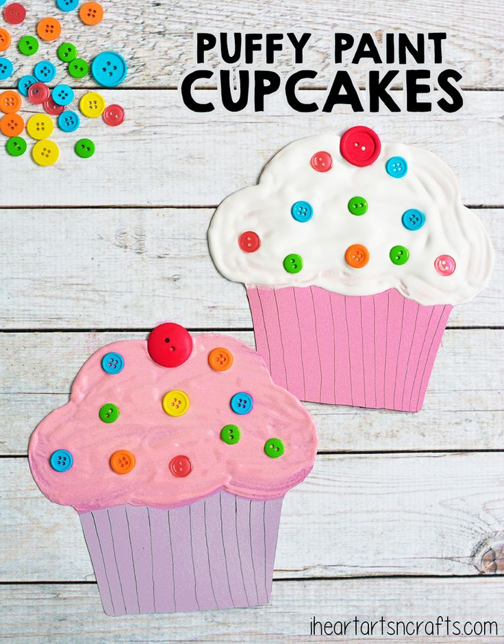Puffy Paint Cupcake Craft For Kids Crafts Pinterest Crafts For