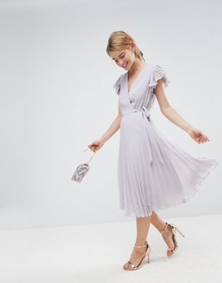 ASOS Pleated Midi Dress with Flutter Sleeve