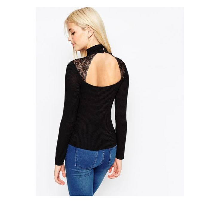 Check out this product: ASOS Polo Neck Jumper With Lace Insert - Black #villoid