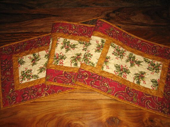 Christmas Table Runner With Red Berries and Holly on Cream