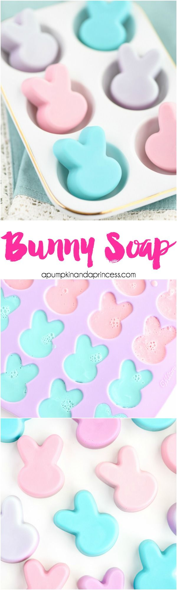 DIY Bunny Soap - These handmade bunny shaped soaps made with orange essential oil make a great candy alternative for Easter baskets. MichaelsMakers A Pumpkin And A Princess