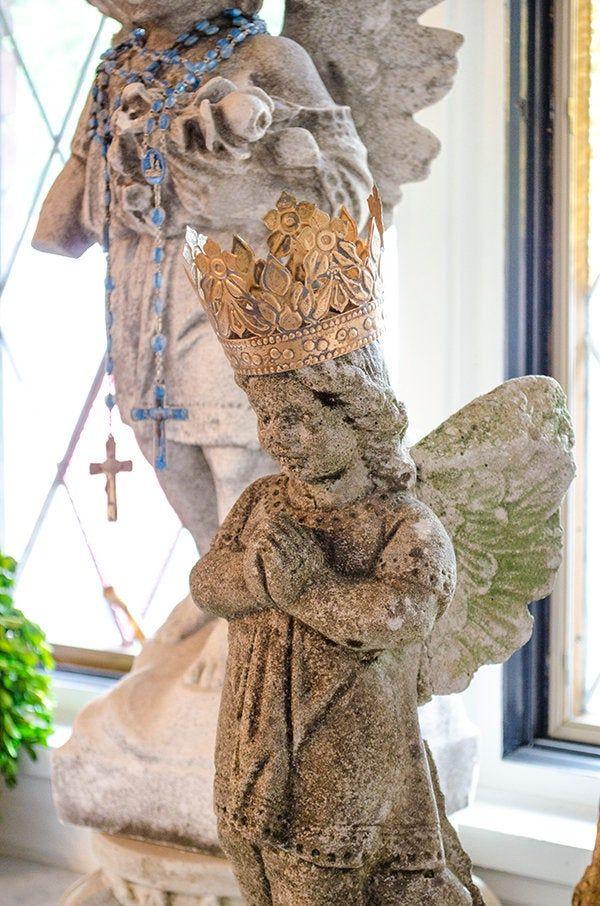 Antique Cement Angel Statue Sanctuary Garden Memorial Angel Angel Statues Statue Angel