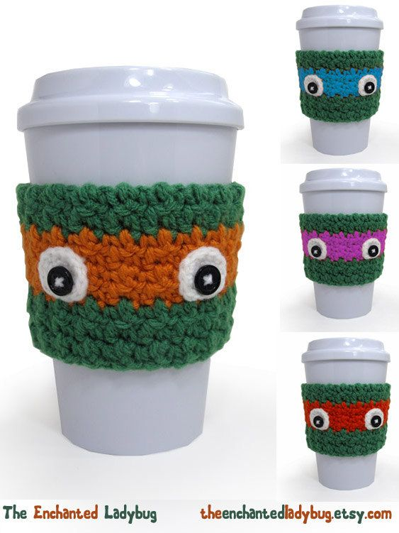 Crochet Ninja Turtle Inspired Coffee Cup by TheEnchantedLadybug