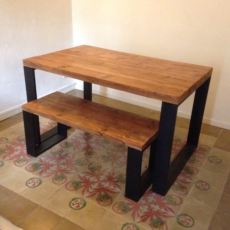 Mesa y banco estilo industrial atelier del arte-sano
