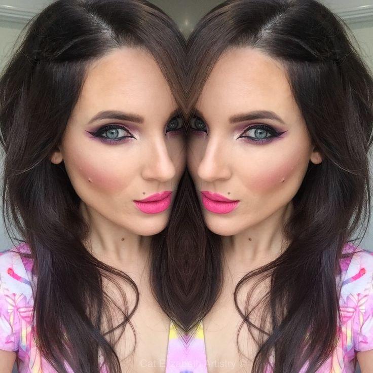 Pink eyeshadow! Winged eyeliner hot pink lips