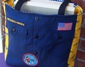 cub scout bag.  want to make for the boys with daddy's out scout shirt...yes his mom saved it.  Now if only I could sew....