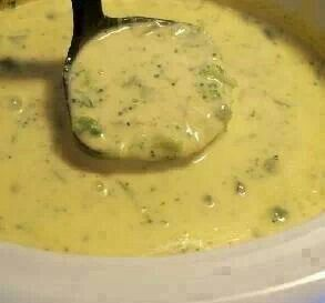 Broccoli Cheese Soup for the Crock Pot!!!  1/2 cup onion, chopped 2 tablespoons butter or 2 tablespoons margarine 1 (10 ounce) can cream of chicken soup 1 1/2 cups milk 1 lb Velveeta cheese, cubed 1 (10 ounce) package frozen chopped broccoli  Directions: 1 Sauté onion in butter. 2 Combine all ingredients on low in crockpot for 3-4 hours. Do not add salt.