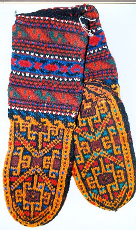Turkmen socks from Iran. In the collection of the Textile Research Centre in Leiden.