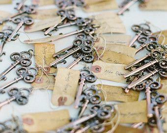 Skeleton Key Bottle Opener Wedding Favor (with vintage tag)