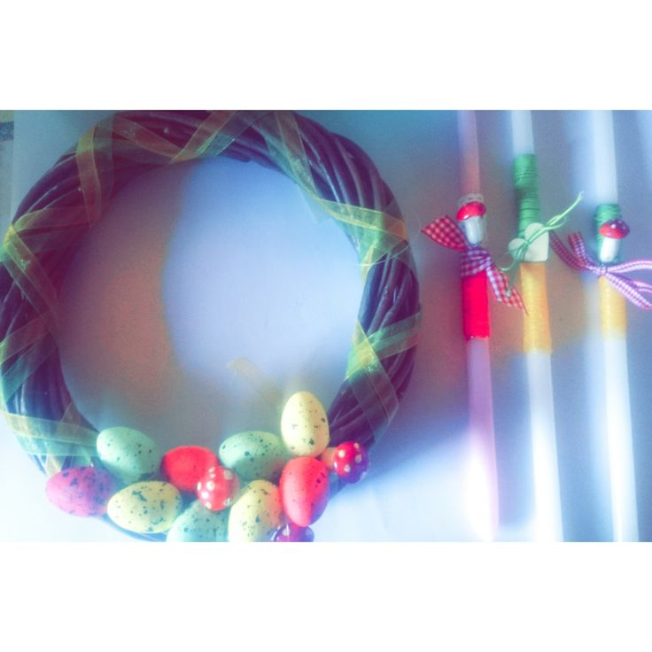 Easter candles and wreaths