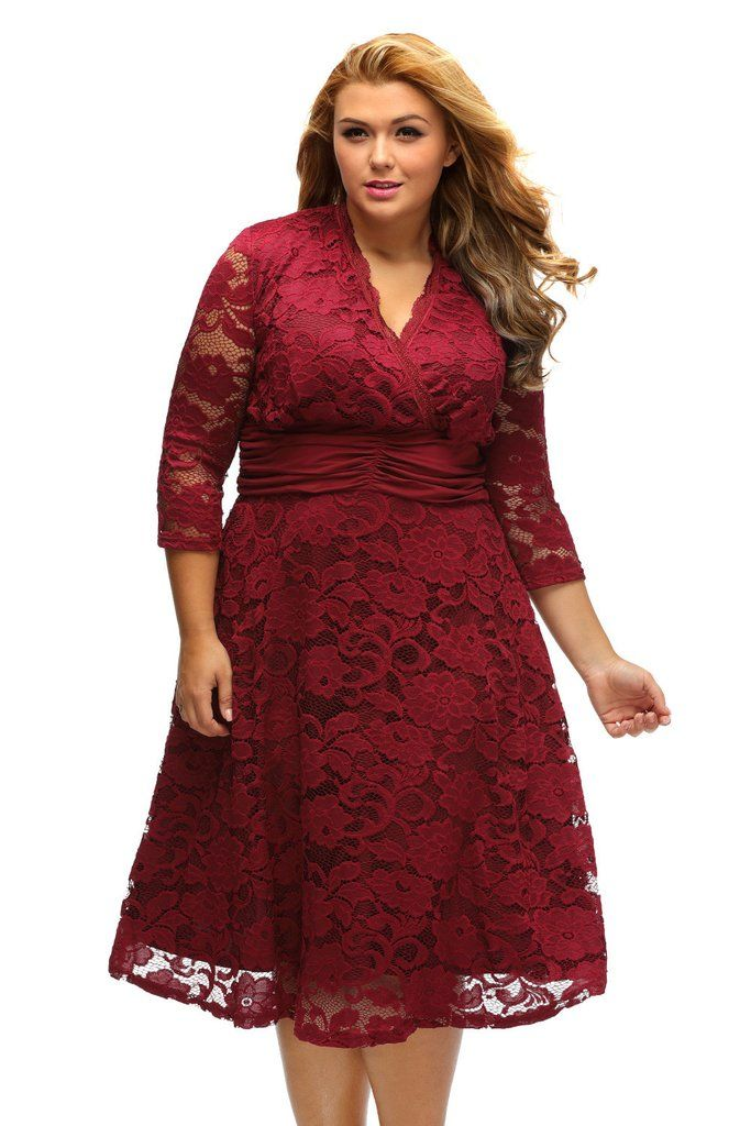 Robe Swing Grandes Tailles Dentelle Fleur Rouge Ruche Taille MB61393-3 – Modebuy.com
