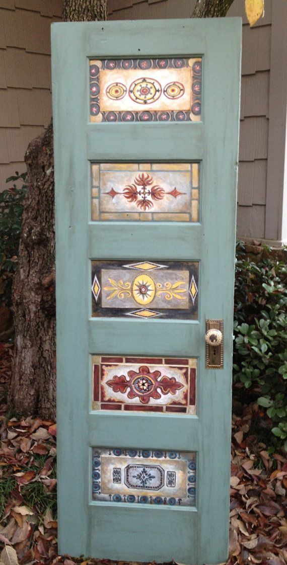 Wood door, hand-painted, antique, vintage, wall decor or wall mount as queen headboard, king headboard on Etsy, $295.00