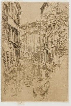 "1887: Freer meets New York collector Howard Mansfield (1849–1938) and discovers the work of American artist James McNeill Whistler (1834¬–1903). Freer purchases the entire Second Venice Set, twenty-six ""fine impressions"" of etchings by Whistler, from the Knoedler Gallery. This marks the beginning of a long and fruitful partnership with Whistler.   Quiet Canal; James McNeill Whistler (1834–1903); United States, 1879–80; Gift of Charles Lang Freer; F1887.25"