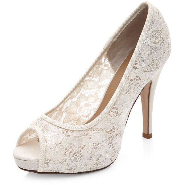 Wide Fit Cream Bridal Lace Peep Toe Heels ($18) ❤ liked on Polyvore featuring shoes, pumps, heels, winter white, cream pumps, lace peep toe pumps, heels & pumps, ivory bridal shoes and peeptoe pumps