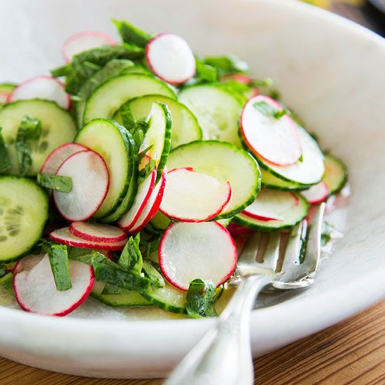 Take advantage of your overflowing garden and whip up our simple radish and cucumber salad: http://www.bhg.com/recipes/salads/ideas/garden-fresh-salads/?socsrc=bhgpin022614radishandcucumbersaladpage=7