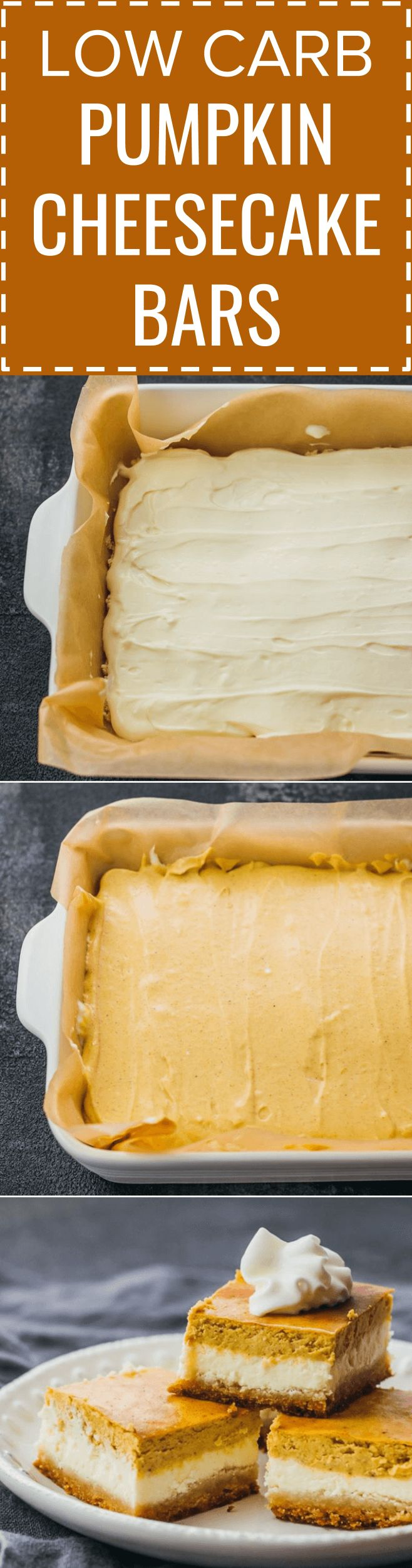 These healthy pumpkin cheesecake bars are layered with a bottom almond crust, a middle cheesecake layer, and a top pumpkin layer. keto / low carb / diet / atkins / induction / meals / recipes / easy / dinner / lunch / foods / healthy / gluten free / paleo / squares / bites / mini / best / pie / thanksgiving / fall / holidays / homemade / desserts / individual / philadelphia / simple / light / from scratch / filling / fresh / creamy / small / ideas / autumn #keto #pumpkin #cheesecake