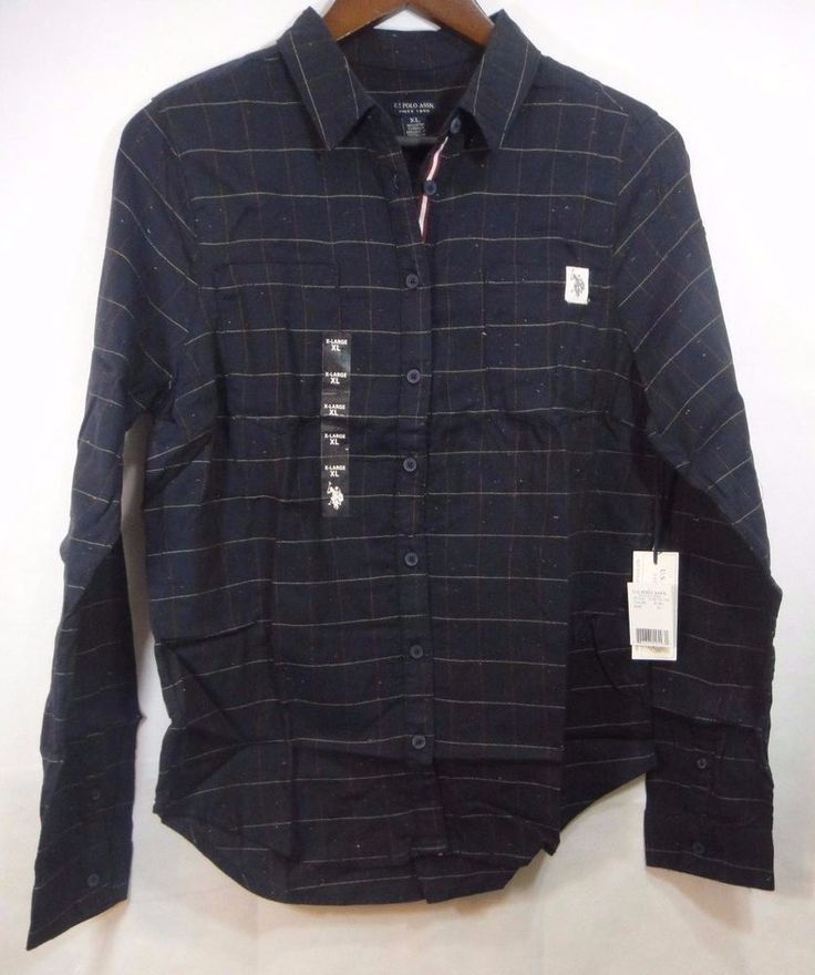 NWT U.S. Polo Assn. Juniors Long Sleeve Herringbone Shirt Blue Size X-Large XL #USPoloAssn #ButtonDownShirt #Casual