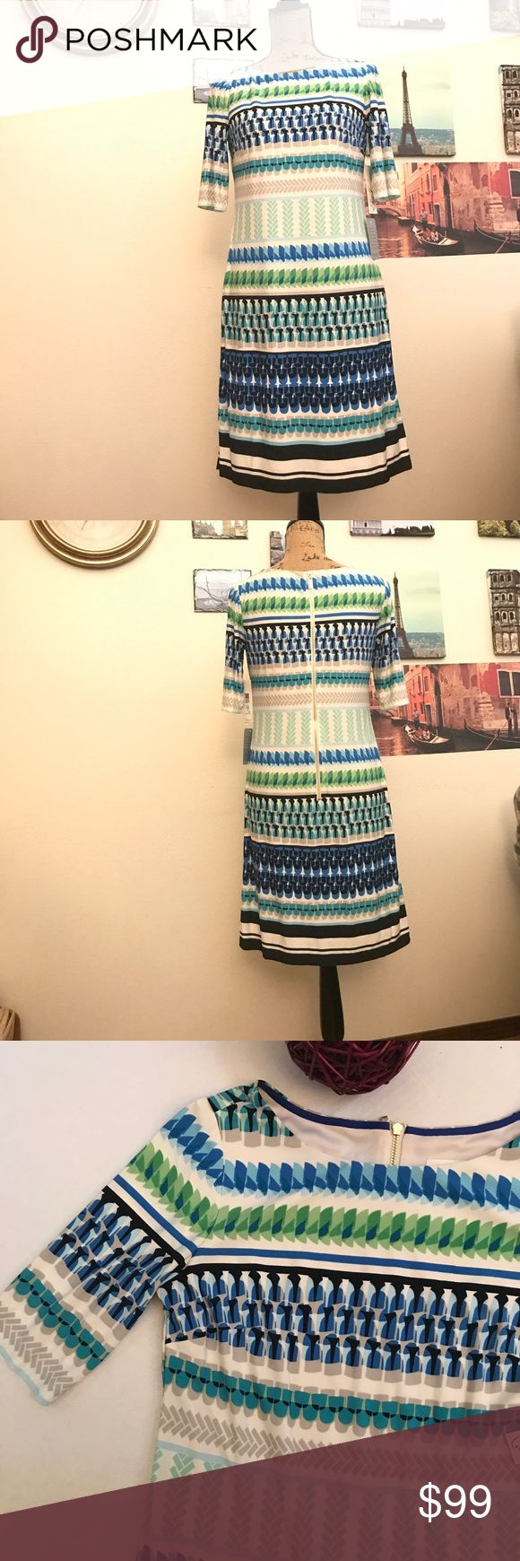 """Eliza J print shift dress, Sz. 8 Gorgeous and vibrantly colored!  This dress is sure to make you stand out on your cruise!  Measures 17"""" pit to pit flat laid and is 37"""" in length.  Is fully lined (except sleeves).  017111111217 Eliza J Dresses Midi"""