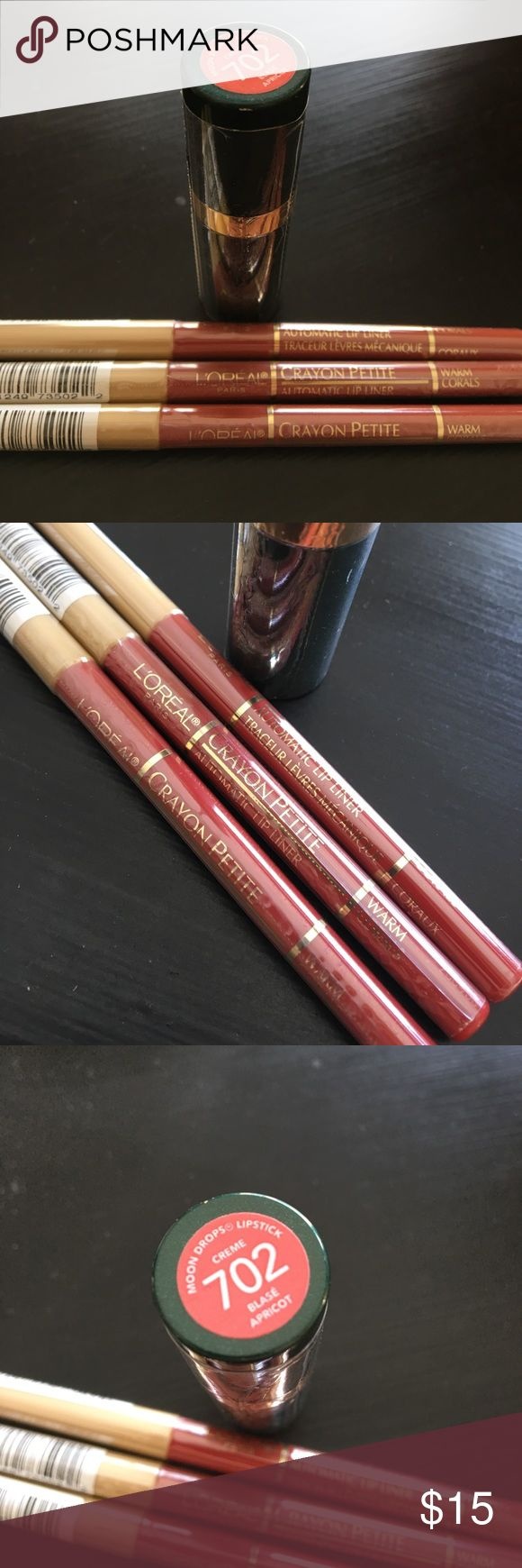 "Warm Corals Revlon lipstick L'Oréal liner bundle This listing is for all 3 NWT lip liner pencils from L'Oréal in ""Warm Corals"" color, plus one NWT moon drops lipstick from Revlon in ""Blase Apricot"" 702 color. L'Oreal Makeup Lip Liner"