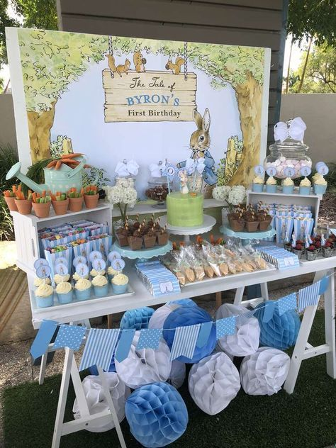 Byron's Peter Rabbit First Birthday Party | CatchMyParty.com