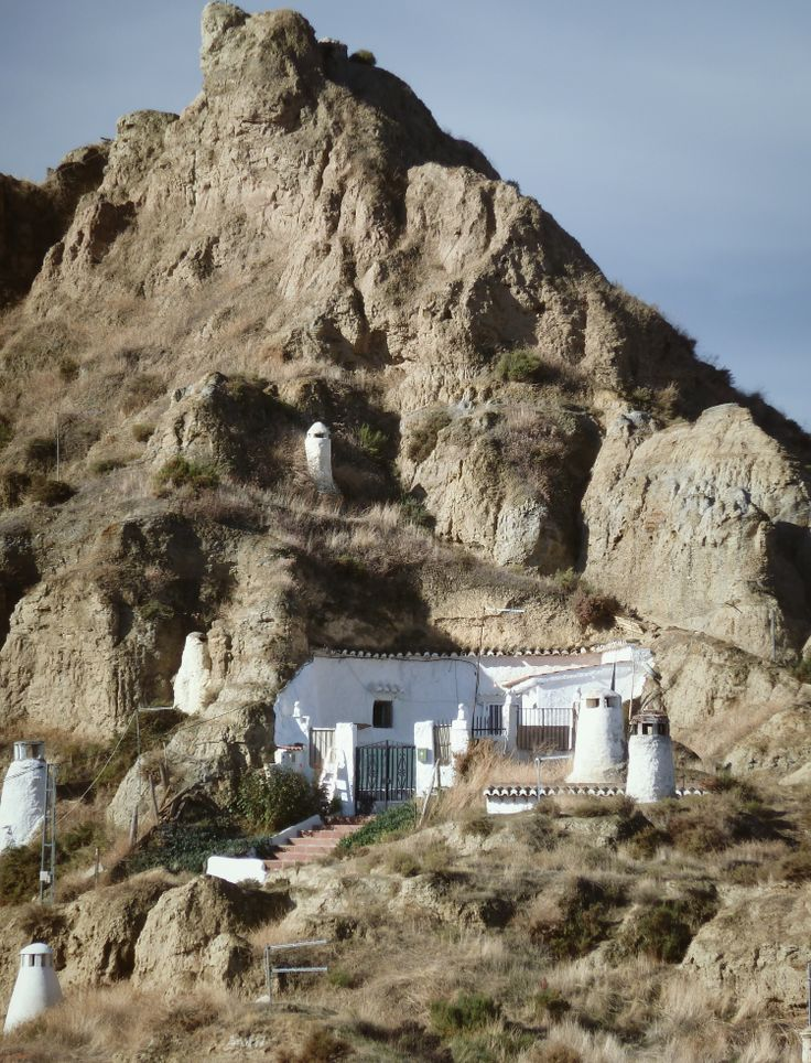 "Typical ""Casas Cueva"" in Guadix. Houses carved in tuff rocks in Granada, Spain. #Europe"